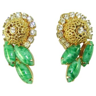 Vintage Juliana Earrings Jade Green Navettes Filigree Balls Rhinestone