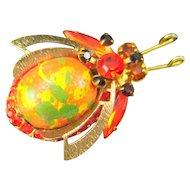 Vintage Juliana Painted Wood Bead Bug Insect Orange Green Yellow Rhinestone Figural Book Piece HTF