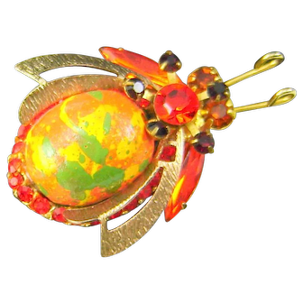 Vintage Juliana Painted Wood Bead Bug Insect Orange Green Yellow Rhinestone Figural Book Piece HTF