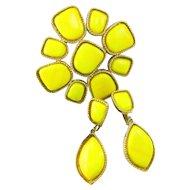 Vintage Juliana Bright Yellow Cabochon Pendant Brooch Dangle Earrings Set Large Book Piece