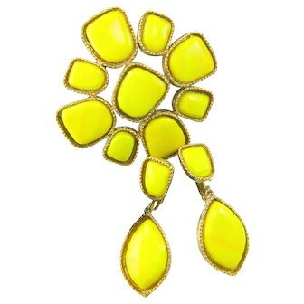 Vintage Juliana Bright Yellow Cabochon Pendant Brooch Dangle Earrings Set Large Book Piece