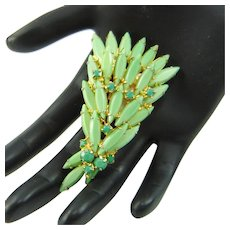Vintage JULIANA Fan Brooch Pin Opaque Green Navettes Rhinestones Tiered