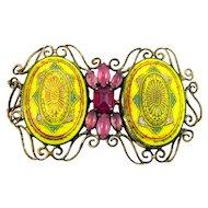 Vintage SCHREINER Rare Pendant Barrett Moroccan Yellow Pink Rhinestones