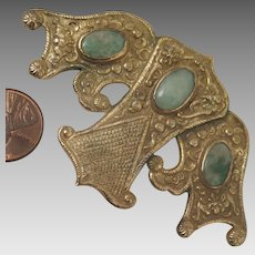 Antique Chinese 800 Silver Jade Moth Dress Clip Brooch