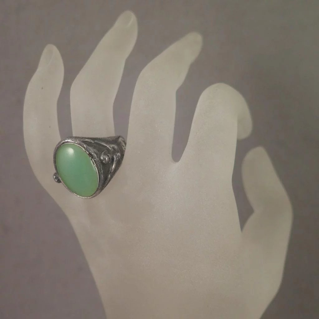 Arts And Crafts 800 Silver Nude Man Woman Chrysoprase Ring -5994