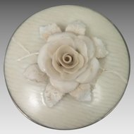 Antique 3D Porcelain Rose Brooch