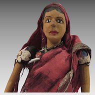 Early 1900s Wooden Doll from India