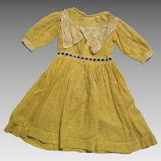 Late 1800s Yellow Cotton Doll Dress for 20-22 inch