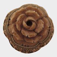 Antique German Sterling Gilt Filigree Agate Rose Brooch