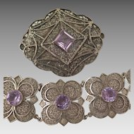 Bracelet and Brooch Set Sterling Silver Filigree Amethyst Dutch Early 1900s