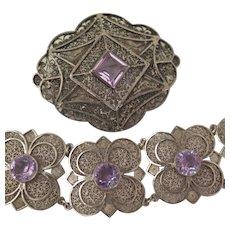 Bracelet and Brooch Set Sterling Silver Filigree Amethyst Dutch Early 1900s