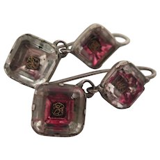 Georgian Stuart Crystal Earrings Sterling Pierced circa 1700