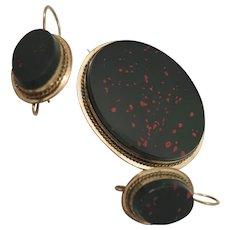 Victorian Bloodstone Earrings and Brooch Set