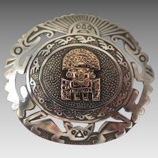 Peru 18K Sterling Silver Aztec Pendant Brooch