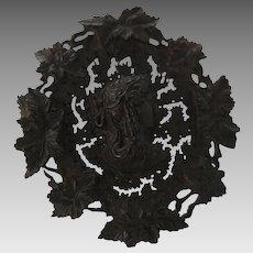 Victorian Vulcanite Mourning Cameo Brooch