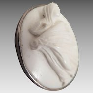 Victorian White Stone Full Figure Cameo Brooch