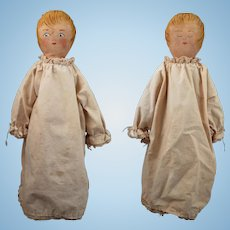 Vintage Homemade Painted Cloth 2 Faced Doll 15 inches