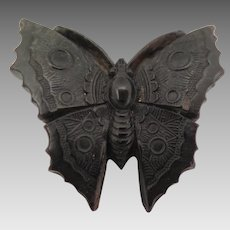 Victorian Pressed Horn Butterfly Brooch