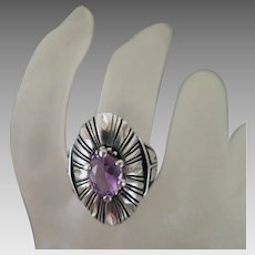 Vintage Sterling Silver Amethyst Ring Size 8.25
