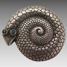 Antique Sterling Silver Snake Brooch