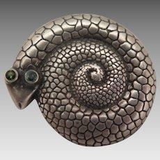 Antique Sterling Silver Snake Brooch