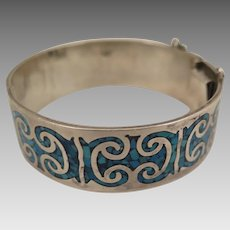 Vintage Sterling Silver Turquoise Mexican Bracelet Cuff