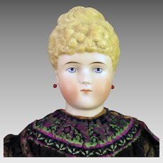 1870s Parian Bisque ABG 1154 Doll Unusual Hair Pierced Ears