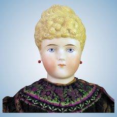 1870s Parian Bisque ABG 1154 Doll Unusual Hair Pierced Ears