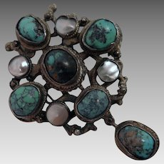Antique Austro Hungarian Turquoise Mother of Pearl 900 Silver Brooch