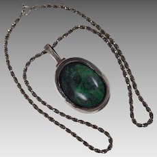 Vintage 900 Silver Chrysocolla  Pendant Sterling Necklace Chain