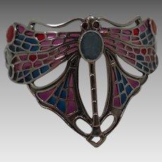 Vintage Sterling Plique a Jour Dragonfly Bracelet