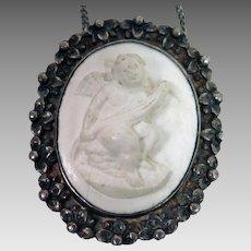 Antique Lava Cameo Pendant Necklace