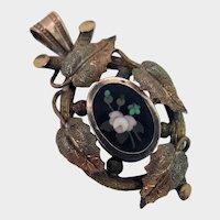 Victorian Pietra Dura Pendant Brooch