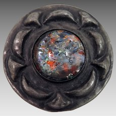 Arts and Crafts Harlequin Glass Pewter Brooch