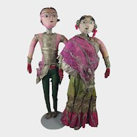 """23"""" Bride and Groom Pair Cloth Dolls from India Early 1900s"""