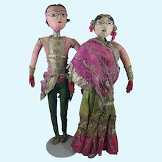 "23"" Bride and Groom Pair Cloth Dolls from India Early 1900s"
