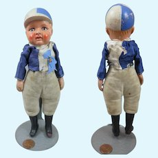 "Painted Bisque Jockey Doll 7.5"" Early 1900s"