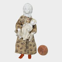 Doll House Bisque Doll with Child 3.25""