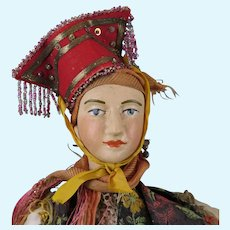 Early 1900s Wood Doll in Regional European Costume 18 inches