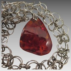Vintage Amber Pendant on Large Sterling Silver Necklace Chain
