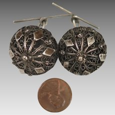 Antique Etruscan Revival 900 Silver Filigree Domed Cufflinks