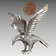 Antique 900 Silver Eagle Brooch