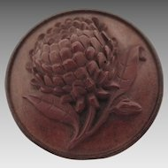 Victorian Vulcanite and Wood Chrysanthemum Flower Brooch