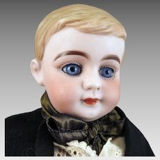 1880s German Bisque Boy Doll Glass Eyes 17 inches