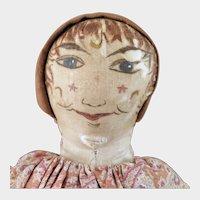 Antique Home Made Folk Art Cloth Clown Doll 20 inches