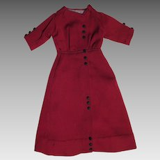 Edwardian Red Wool Dress for 20 to 22 inch Doll