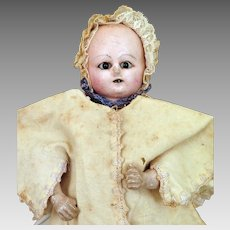 Mid 1800s Mechanical Wax Over Papier Mache Baby Doll 11 inches