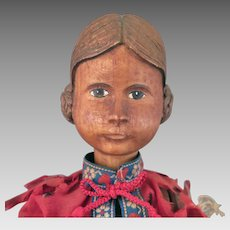 Early 1900s Swiss Wood Doll 11.5 inches