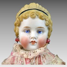 Antique German Parian Bisque Doll with Molded Teeth 16 inches