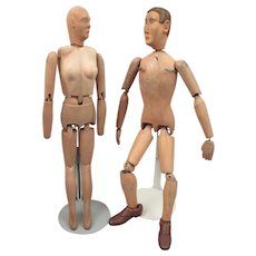 1930s-40s Jointed Wood Man Woman Doll Pair